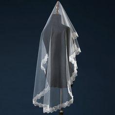Bride Veils White Ivory Applique Tulle Lace Sequined veu de noiva long wedding veils bridal accessories lace bridal veil