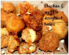 ~Chicken and Waffle Doughnut Holes! Chicken Bites, Chicken Wing Recipes, Doughnut Holes, Chicken And Waffles, Man Food, Tasty Bites, Breakfast Recipes, Breakfast Time, Turkey Recipes