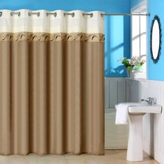Somerset Home Abilene Embroidered Shower Curtain with Grommets, Taupe, Beige