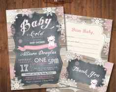 Winter Baby Shower Invitation Pack Chalkboard. by AngelinaWorks