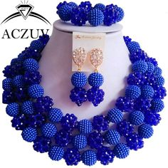Trendy Ball Bead Crystal and Plastic Pearl Jewelry Set Royal Blue LV002
