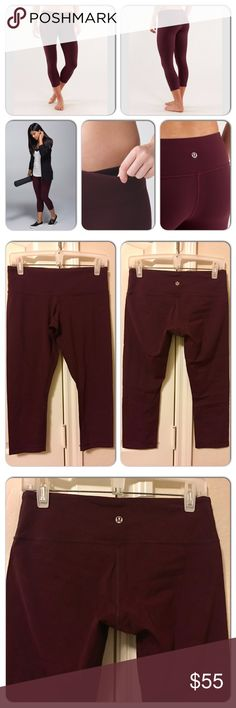 Lululemon Wunder Under Crop Lululemon Wunder Under Crop in Bordeaux Drama. Like-new. Size tag removed. Size 8.  Why we made this These no-fuss, versatile crops were designed to fit like a second skin perfect for yoga or the gym.  Key features Luon fabric is sweat-wicking and four-way stretch added LYCRA fibre bends with you and stays in great shape tuck your key or card into the hidden waistband pocket medium rise imported  Fit + function designed for: yoga, gym, everything! fabric(s): Luon…