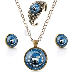Lureme® Time Gem The Zodiac Series Vintage Leo Pendant Necklace Stud Earrings Hollow Flower Bangle Jewelry Sets - USD $7.99 ! HOT Product! A hot product at an incredible low price is now on sale! Come check it out along with other items like this. Get great discounts, earn Rewards and much more each time you shop with us!