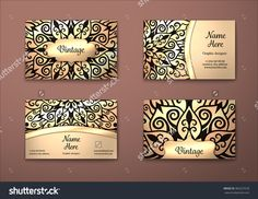 Vector Vintage Visiting Card Set. Floral Mandala Pattern And Ornaments. Oriental Design Layout. Islam, Arabic, Indian, Ottoman Motifs. Front Page And Back Page. - 383257678 : Shutterstock