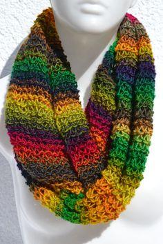Loop Schlauchschal Schal Merino knitted colorful heather
