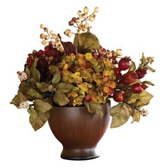 Autumn Hydrangea W/Round Vase Artificial Flower Arrangement