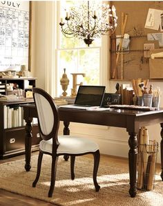 Beautiful office space - with the prettiest chandelier!