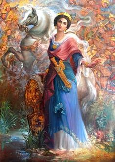 """Grand Admiral Artemisia became the ruler of Halicarnassius (A Greek City-State and a colony of Persian Empire). She ruled under the overlordship of the Persian Emperor Xerxes I (Kheshayar Shah). The name """"Artemisia"""" means: """"The great speaker of truth. Women In Iran, Iranian Women, Persian Warrior, Persian Princess, Cyrus The Great, Ancient Persian, Ancient Greek, Graphisches Design, Art Asiatique"""