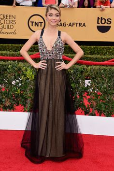 Sarah Hyland on the red carpet at the SAG Awards.