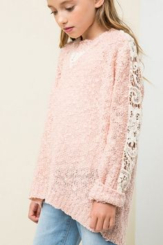 SWEATER TOP WITH LACE CONTRAST
