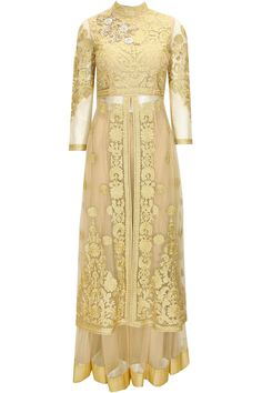 Gold floral embroidered long jacket with gold net lehenga available only at Pernia's Pop-Up Shop.