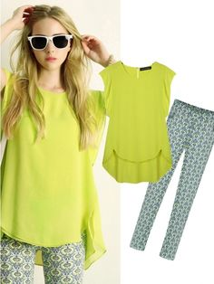 Cool 2Pcs Sleeveless Chiffon Top Fashion Print Slim Long Pants