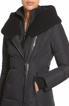 Mackage Knit Trim Hooded Asymmetrical Zip Long Down Coat
