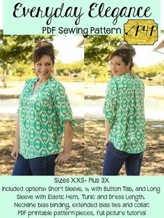 Patterns For Pirates Everyday Elegance Top Sewing Pattern - This pattern has all the style you need in a loose, flowy, comfortable shirt! It can be made with a woven or knit material, but works best with fabrics that have a. Pdf Sewing Patterns, Sewing Tutorials, Clothing Patterns, Sewing Projects, Sewing Tips, Tunic Dress Patterns, Sewing Men, Tunic Pattern, Sewing Ideas
