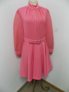 Vintage Polyester Knit PINK Dress Lace Sleeves Peek A Boo w/ Full Skirt