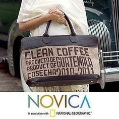 Jute and Leather 'Clean Coffee' Large Travel Bag