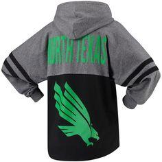 Women's Black North Texas Mean Green Pom Pom Jersey Oversized Long Sleeve Hooded T-Shirt University Of North Texas, Mean Green, Team Gear, Sport T Shirt, Hoods, Stripes, Store, Sweatshirts, Long Sleeve