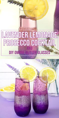 Lavender Lemonade Prosecco Cocktails + DIY Ombre Glitter Champagne Glasses are the perfect pair for a Sunday Brunch with your favorite girlfriends! Get the Prosecco cocktail recipe and learn how to make these fun champagne glasses! Prosecco Cocktails, Summer Cocktails, Cocktail Drinks, Fun Drinks, Cocktail Recipes, Alcoholic Drinks, Margarita Cocktail, Purple Cocktails, Cocktails With Champagne