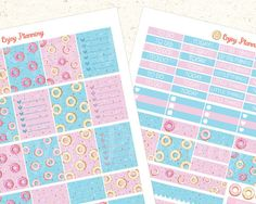 Donuts Printable Planner Stickers Headers planner by EnjoyPlanning