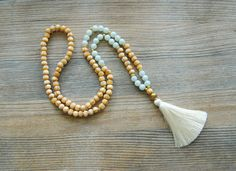 108 mala necklace, amazonite mala, wooden mala, yoga necklace, mala beads, long tassel necklace, japa mala