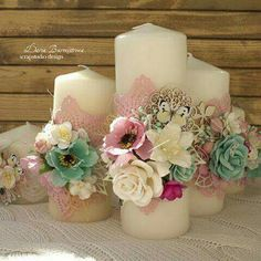 A unity candle serves as a candle employed in a ceremony event to symbolize 2 different people becoming a member of in marriage. Floating Candle Centerpieces, Party Centerpieces, Candle Craft, Candle Set, Wedding Unity Candles, Pillar Candles, Candels, Shabby Chic Candle, Candle Making