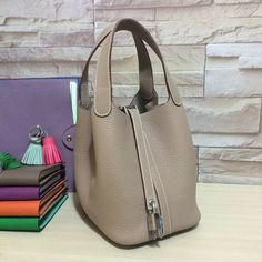 Hermes picotin small bag grey clemence leather
