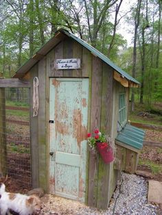 Maison de Poulet de Bayou. Built entirely from scrap building materials. Cute.