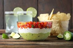 Triple Layer Guacamole Creamy Cotija and Confetti Salsa Party Dip - SoupAddict.com