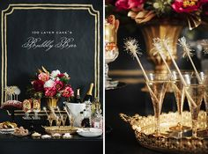 40 Ways to Stay Golden on Your Wedding Day via Brit + Co.  Bubbly Bar: And while we're on the topic of black paper and metallic paints, go ahead and make this epic bubbly bar… and then send us an invite to what is obviously going to be the best wedding ever. (via 100 Layer Cake). Rae