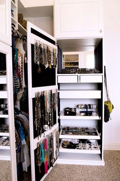 jewelry storage mirror closet contemporary with glass-front cabinets gray display and wall shelves