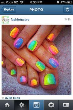 Fluoro Rainbow Nails