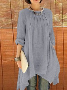 ZANZEA Women Long Sleeve Pure Color Asymmetrical Loose Shirts look not only  special 753aff829d9