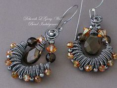 Smoky Quartz Earrings with Crystals by Sneekbead on Etsy, $85.00