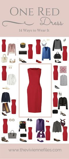 One Red Dress in a Capsule Wardrobe: Fourteen Ways to Wear It