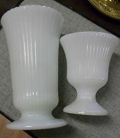 White Milk Glass Ribbed Vases E.O. Brody Fenton Milk Glass, Milk Glass Vase, Vintage Dishes, Vintage Glassware, Pickle Jars, Indiana Glass, Glass Company, Carnival Glass, Glass Collection