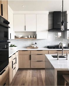 Most Popular Two Tone Kitchen Cabinets for 2018 - These minimalist kitchen i. Most Popular Two Tone Kitchen Cabinets for 2018 – These minimalist kitchen ideas are equal co Home Decor Kitchen, Interior Design Kitchen, Home Kitchens, Kitchen Dining, Kitchen Ideas, Narrow Kitchen, Kitchen Trends, Wooden Kitchen, Diy Kitchen