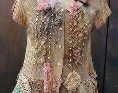 Blusa rococo de cardenillo bohemio romántico alterado