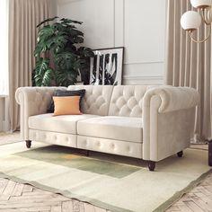 DHP Tamera Coil Sofa Bed, Gray Velvet - Walmart.com - Walmart.com Futon Sofa, Couch, Dallas, Vintage Sofa, Chesterfield Sofa, Layout, Living Room Furniture, Love Seat, Studio Apartment