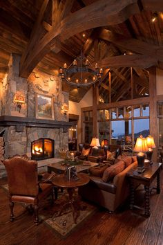 umm hmmm to this log cabin living room- piccsy