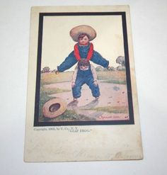 Leap Frog Antique Postcard Country Boys Straw Hat Signed Bernhardt Wall 1905