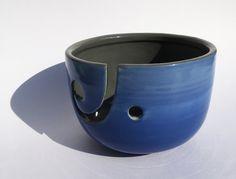 Knitting bowl Crocheting bowl Yarn Bowl Ceramic Blue by DabaDos