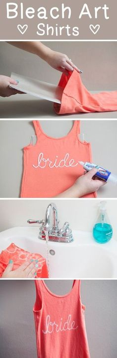 Make your own bridal party t-shirts using a bleach pen - bachelorette party ideas - bridal party DIY gift How to make a bleach bride t-shirt Do It Yourself Baby, Do It Yourself Fashion, Bleach Art, Bleach Shirts, Puffy Paint Shirts, Bleach Pen Shirt, Diy Clothes Bleach, Make Your Own Shirt, Diy Kleidung