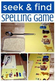 """Spelling is fun!  Seek and find letter hunt game: """"sift n spell"""""""