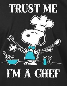 ~ Snoopy preparing to cook a delicious doggie meal. ~