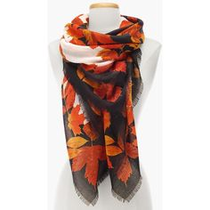 Talbots Women's Falling Leaves Scarf ($70) ❤ liked on Polyvore featuring accessories, scarves, tying square scarves, square scarves, talbots, fringe shawl and wrap shawl