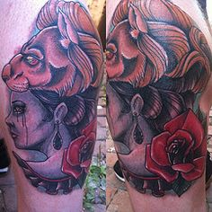 Neo traditional tattoo (Justin Harris Tattoo) Tags: red woman moon black love beautiful hat rose tattoo watercolor sketch redrose lion neotraditional rosetattoo liontattoo justinharris justinharristattoo