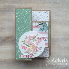 Stampin' Up! - Tri Shutter Card + video, Birthday Bouquet DSP, Number of Years - ZoKris