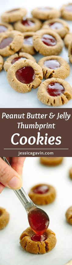 Flourless Peanut Butter and Jelly Thumbprint Cookies - this recipe is ...