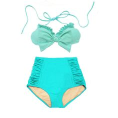 Mint Bow Top and Ruched High Waisted Waist Swimsuit Swimwear Bikini... ($40) ❤ liked on Polyvore featuring swimwear, bikinis, light blue, women's clothing, high waisted retro bathing suits, bikini swimsuit, beach bikini, swim suits and swimsuits two piece