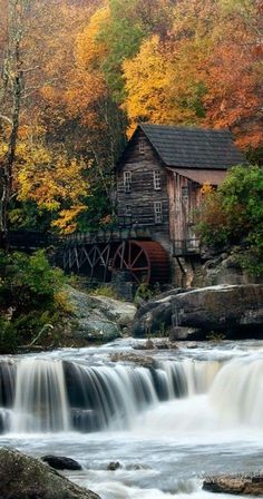 The Grist Mill at Babcock State Park in West Virginia • photo: Chuck Robinson on…
